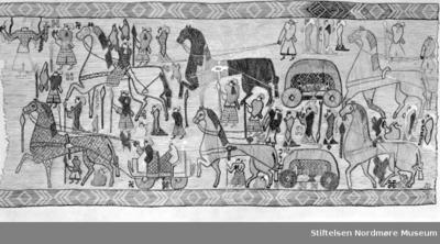 Foto av teppe som er funnet i Osebergsskipet