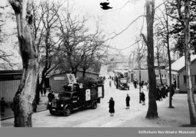 Foto av skolerussen på lasteplanet til en firmabil