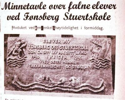 Minnetavle over falne fra Tønsberg