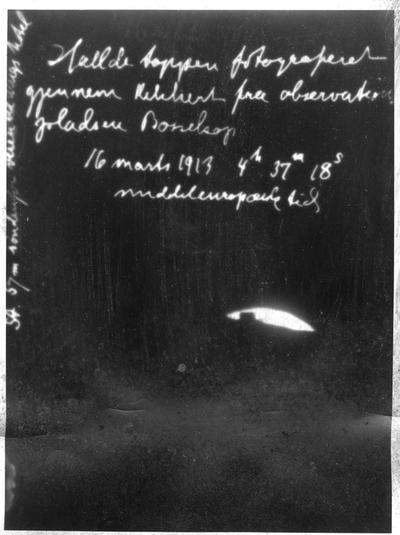 Halldetoppen fotograferet gjennem kikkert fra observatoriepladsen Bossekop 16. mars 1913 4 h 37m 18 s