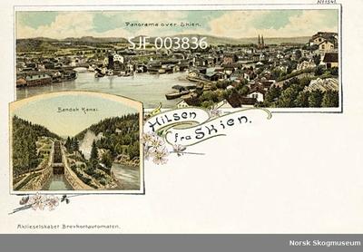 """""""Hilsen fra Skien"""" – et tegnet og fargelagt postkort med to motiver: """"Panorama over Skien"""" og """"Bandak kanal"""""""