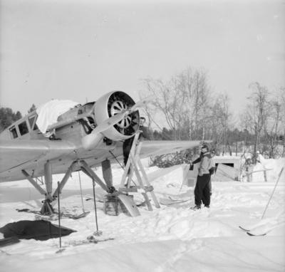 Tillsyn av flygplan Junkers F-13 vid F 19, Svenska frivilligkåren i Finland. Tre män i anslutning till flygplanet.