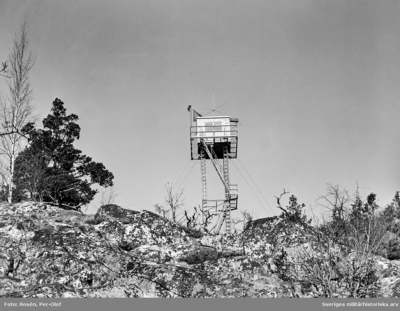 Säkerhetstornet på Utö skjutfält. Härifrån leddes allt säkerhetsarbete på fältet. Nytt torn byggdes på 1990-talet.