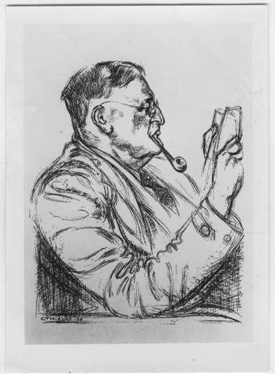 Professor Leonard Axel Jägerskiöld, 75 år 1934-11-12. Tecknat porträtt av C. T. Holmström.