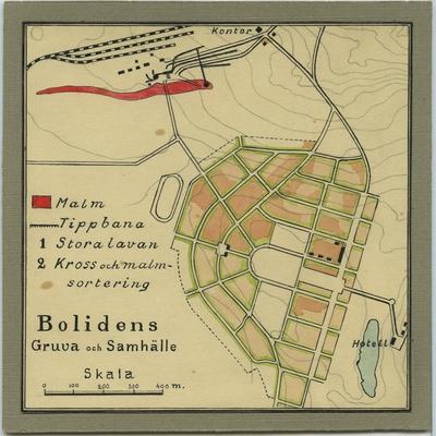 'Ritad karta över området Bolidens gruva och samhälle. ::  :: Serie fotonr 4931-4967.'