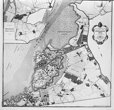 'Repro av sex porträtt av samt äldre Göteborgskarta. ::  :: Avfotograferad äldre karta över Göteborg, 1820.'