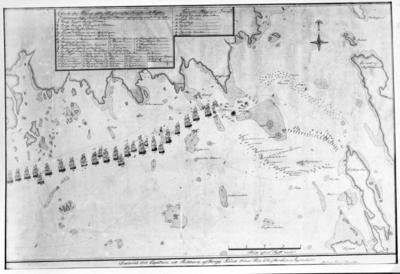 Charta övfer Viborgs yttre redd som visar Svenska och Ryska flottornas läge samt Svenska flottans Afsegling den 19 maj 1790. Reproduktion.