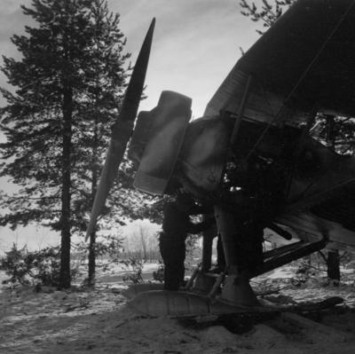 Underhållsarbete med flygplan Hawker Hart svart M tillhörande F 19, Svenska frivilligkåren i Finland. Flygtekniker i arbete vid motorn.