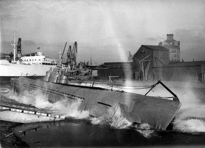 Sjösättning av ubåten Sjöhästen 19 oktober 1940