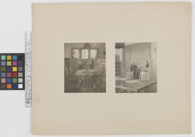 Romanäs sanatorium Interiör. Två män sitter i en alkov.