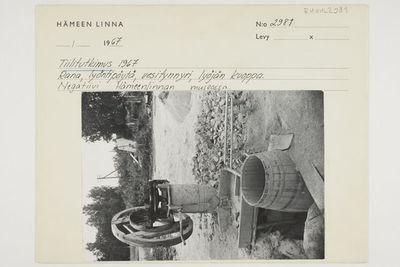 Tiilitutkimus 1967, rana, lyöntipöytä, vesitynnyri, lyöjän kuoppa, Hauho, mv. Kallioisen tiilitehdas