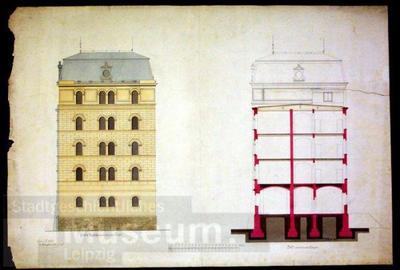 Architekturzeichnung, Giebelfassade zum südlichen Flügel der Pleißenburg, Profil des südlichen Flügels,