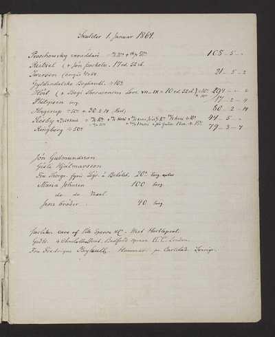 Reikningsbók Jóns Sigurðssonar 1864-1866 ásamt fylgiskjölum