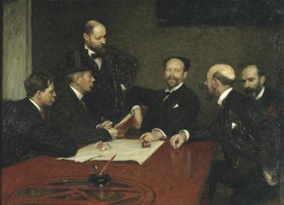 Konstnärsförbundets styrelse Sittande fr.v. Christian Eriksson, Eugène Jansson, Karl Nordström(ordf), Robert Thegerström, Richard Bergh. Stående Nils Kreuger.