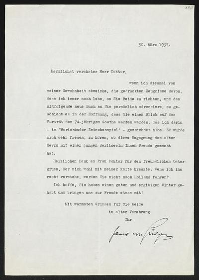 Brief von Hans von Hülsen an Gerhart Hauptmann und Margarete Hauptmann