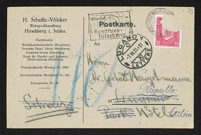 Brief von Hans von Hülsen und Unbekannt an Gerhart Hauptmann