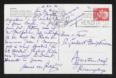 Brief von Hans von Hülsen an Margarete Hauptmann und Gerhart Hauptmann