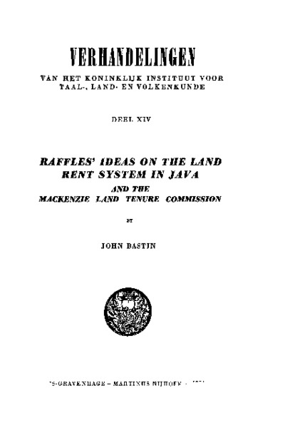 Raffles' Ideas on the Land Rent System in Java and the Mackenzie Land Tenure Commission