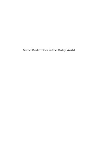 Sonic Modernities in the Malay World