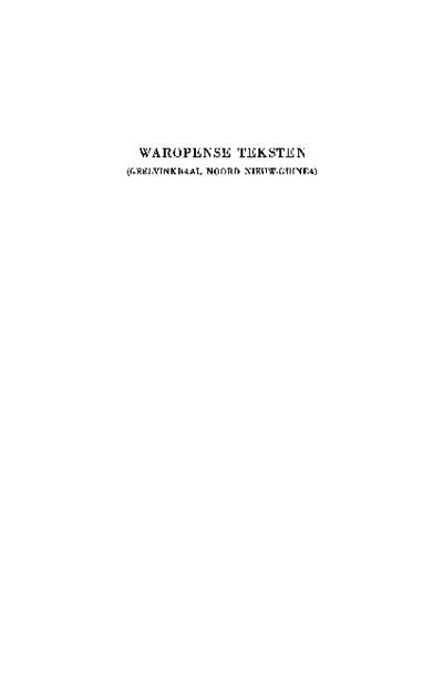 Waropense teksten (Geelvinkbaai, Noord Nieuw-Guinea)