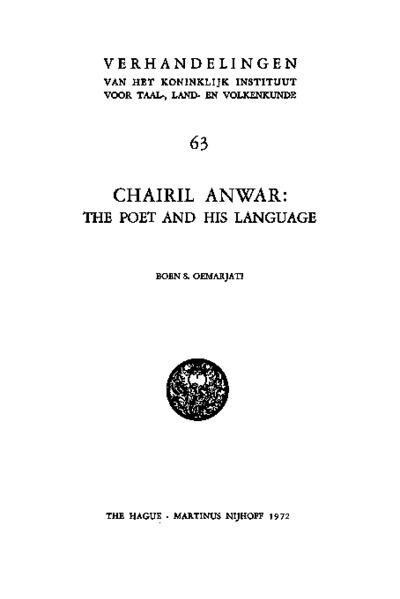 Chairil Anwar: The Poet and His Language