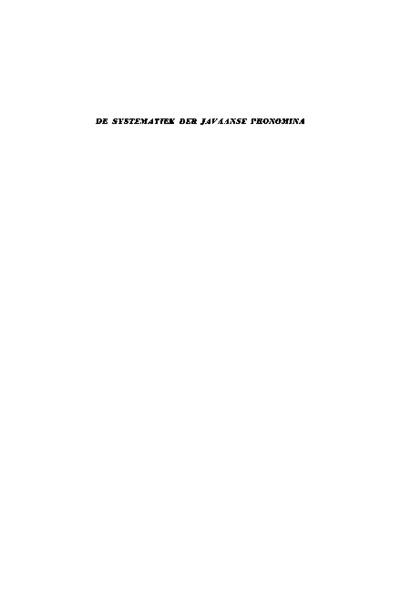 De systematiek der Javaanse pronomina