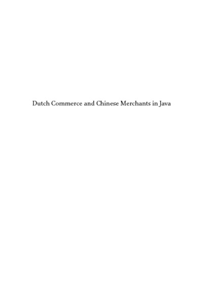 Dutch Commerce and Chinese Merchants in Java