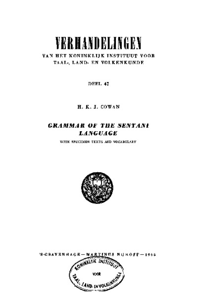 Grammar of the Sentani Language