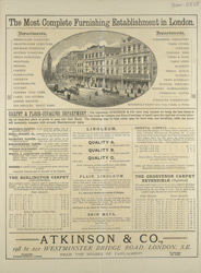 Advert for Atkinson & Co, furniture store