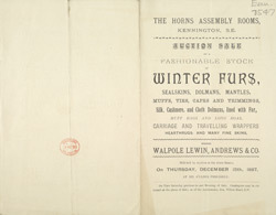 Advert For A Fur Sale At The Horns Assembly Rooms