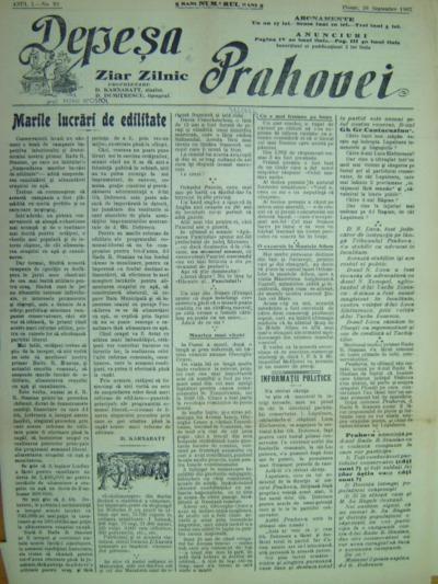Depeșa Prahovei, Anul I, No.92