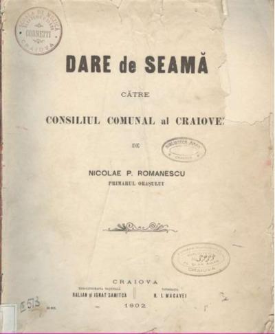 Dare de seamă către Consiliul Comunal al Craiovei