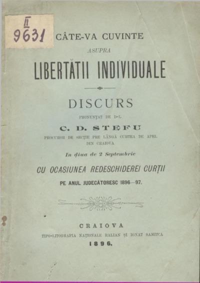 Câte-va cuvinte asupra libertății inddividuale