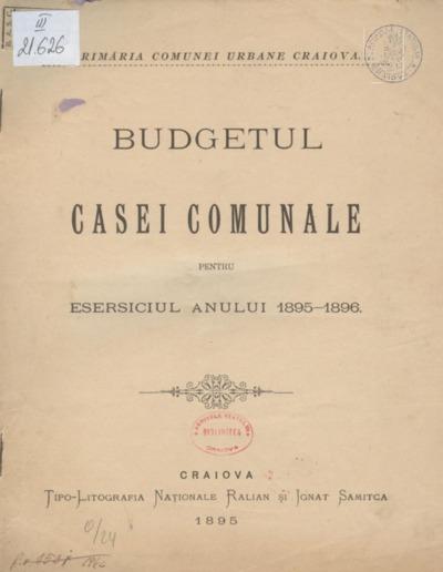 Budgetul casei comunale pentru eserciţiul anului 1895-1896