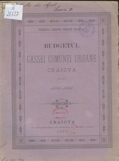 Budgetul cassei comunei urbane Craiova pe anul 1884-1885