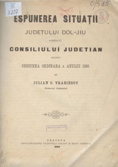 Espunerea situaţii judeţului Dol-Jiu adresată Consiliului Judeţian