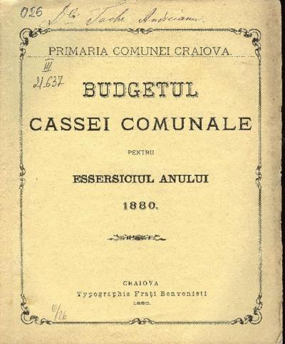 Budgetul Cassei Comunale pentru essersiciul anului 1880