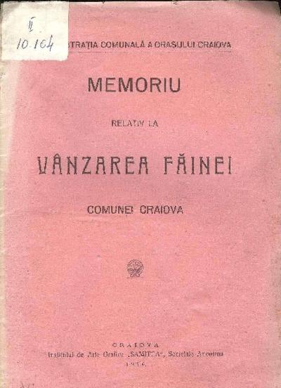 Memoriu relativ la vânzarea făinei comunei Craiova