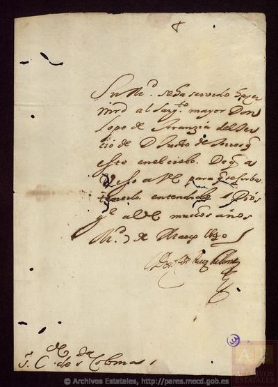 Carta de RUIZ DE CONTRERAS, Fernando a SANTA COLOMA, Conde de