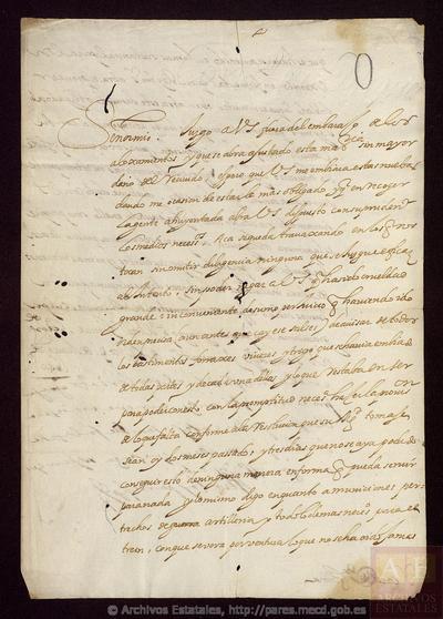 Carta de OLIVARES, Conde-duque de a SANTA COLOMA, Conde de