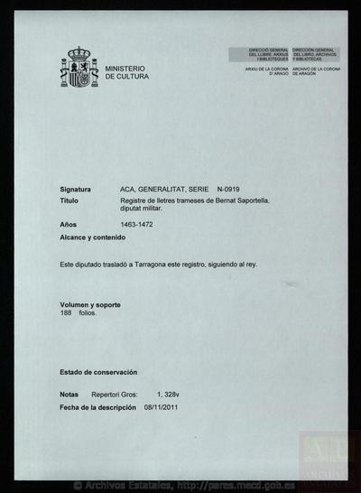 Registre de lletres trameses de Bernat Saportella, diputat militar.