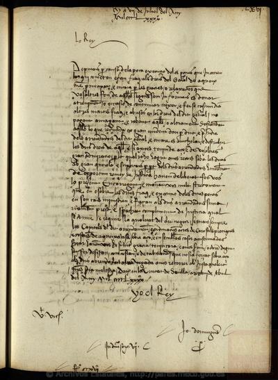 Registre de lletres rebudes del Rei.