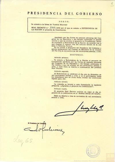 Real Decreto 2560/1978, de 3 de noviembre, por el que se somete a referéndum de la nación el proyecto de Constitución.