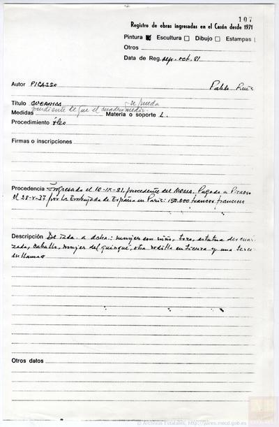 Registro de la entrada del Guernica y los bocetos, en el Casón del Buen Retiro.