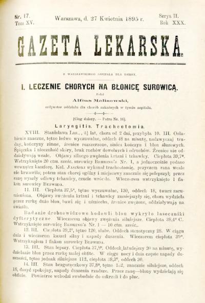 Gazeta Lekarska 1895 R.30, t.15, nr 17