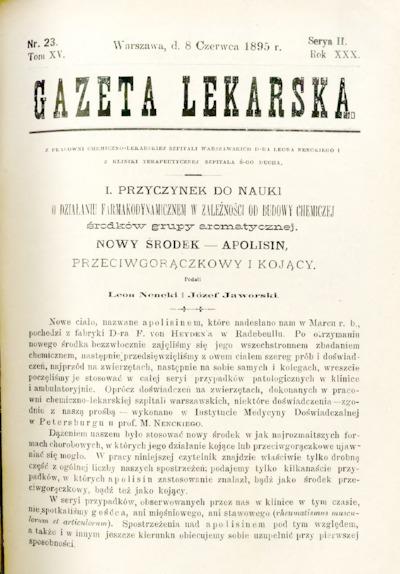 Gazeta Lekarska 1895 R.30, t.15, nr 23