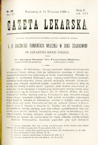 Gazeta Lekarska 1895 R.30, t.15, nr 38