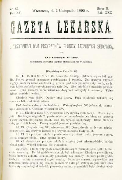 Gazeta Lekarska 1895 R.30, t.15, nr 44