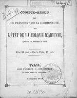 Compte-rendu par le président de la communauté sur l'état de la colonie icarienne