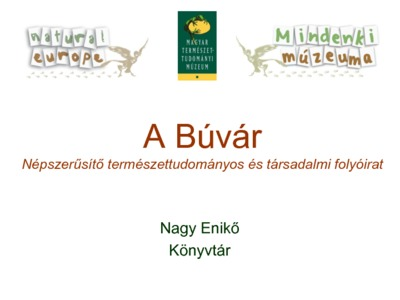 The Búvár - A journal of popular societal and scientific issues - presentation